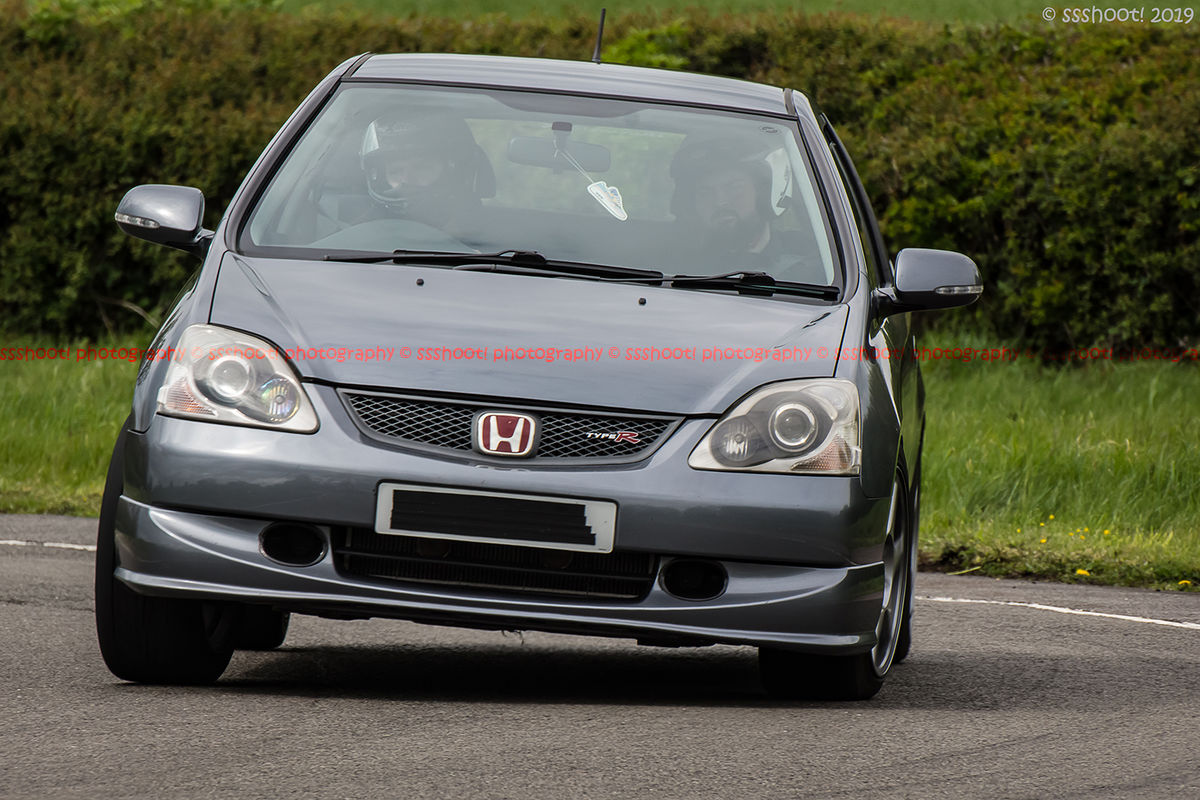 Grey Honda civic type R cornering at speed on Curborough Sprint Course