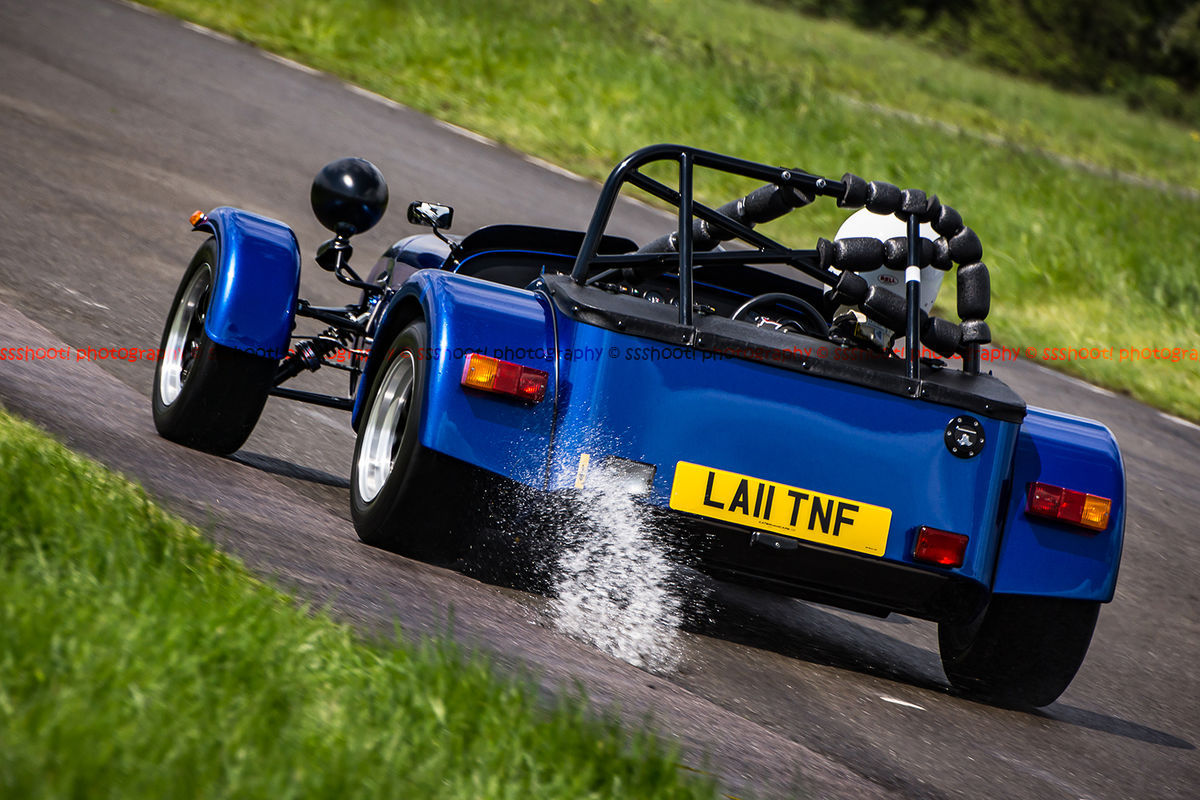 Blue Lotus 7 Caterham Westfield through water at speed on Curborough Sprint Course