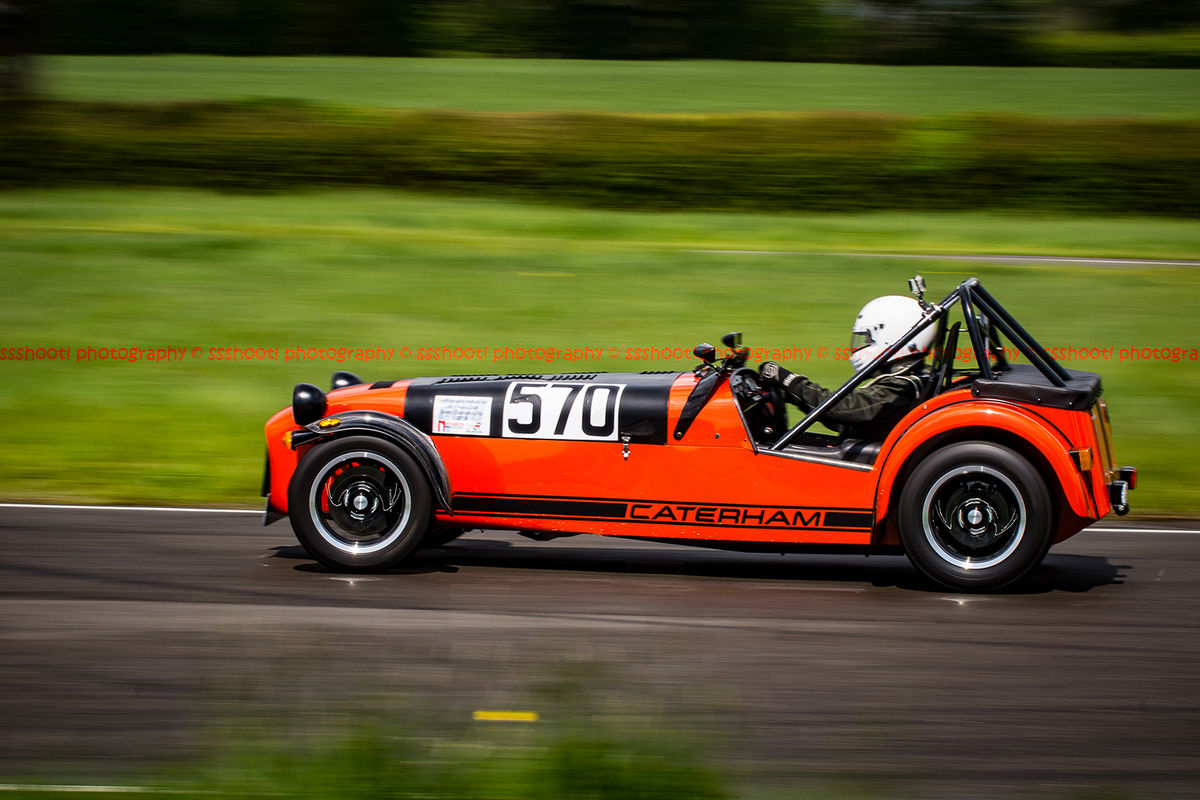 Red Lotus 7 Caterham Westfield at speed on Curborough Sprint Course