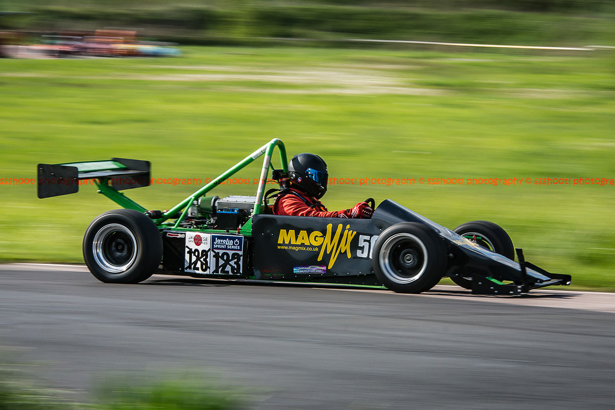 magmix sponsored racing car photographed with panning action