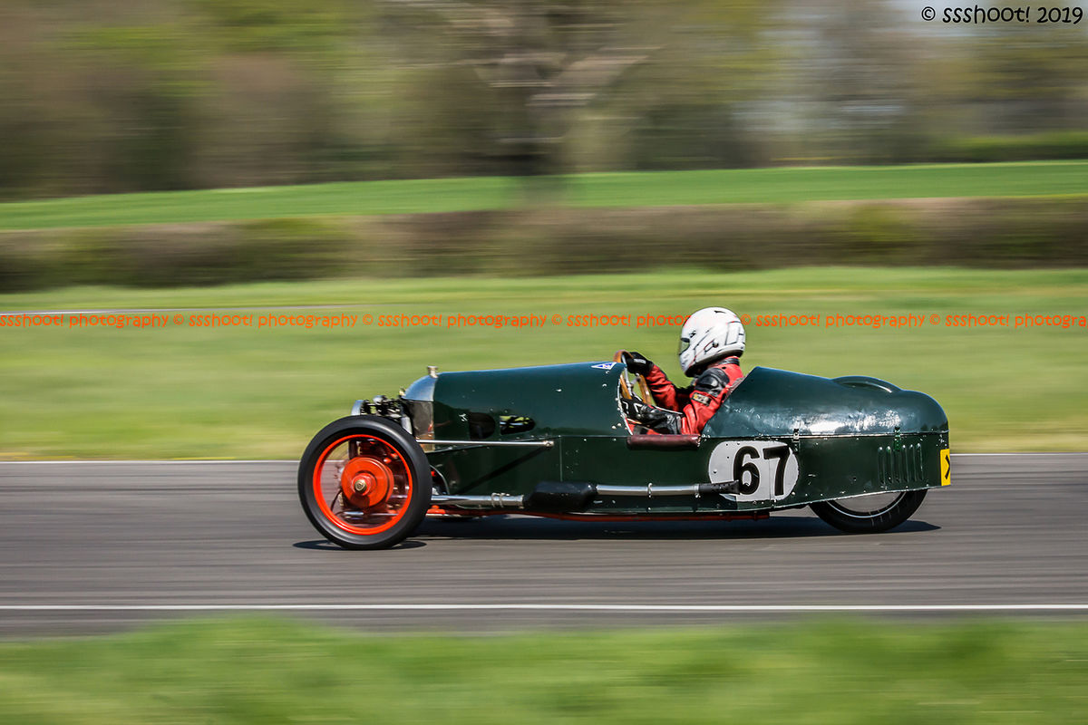 Green morgan vintage racing car at speed on curborough sprint course