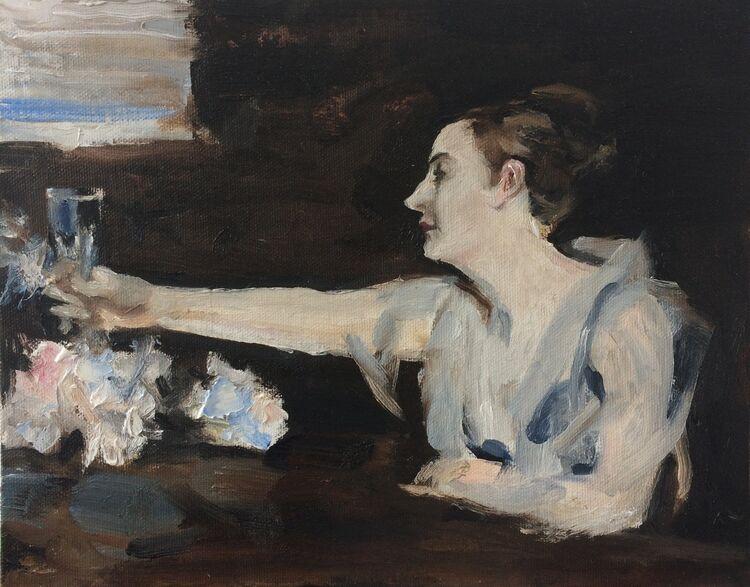 <em> After John Singer Sargent; Madame Gautreau Drinking a Toast. </em> 8x10ins £288