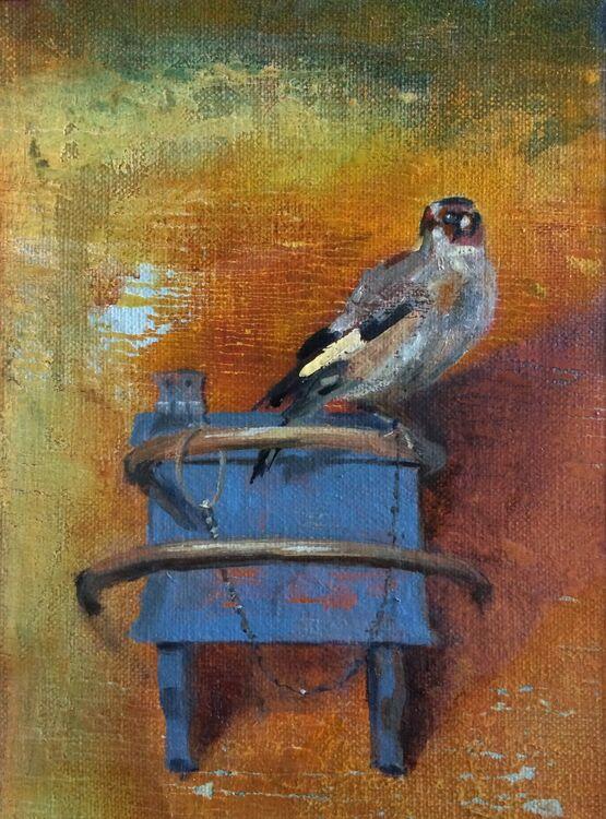 <em> After Carel Fabritius 1654 : The Goldfinch.</em> 6x8ins £224
