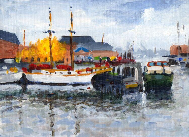 <em> Liverpool Painting No.92, Navigation Wharf. </em> 6x8ins £224