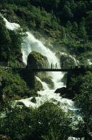 Briksdal glacier waterfall