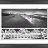 A mono view of Blackpool beach.