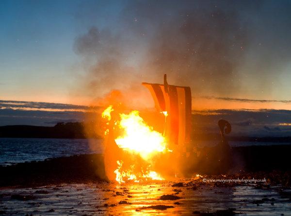 Viking Boat burning at Largs