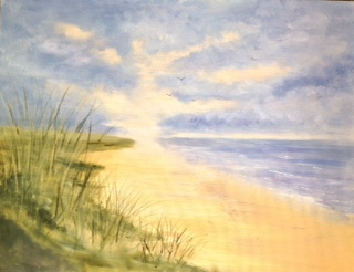 The beach at dawn by Maureen Evans. Sold