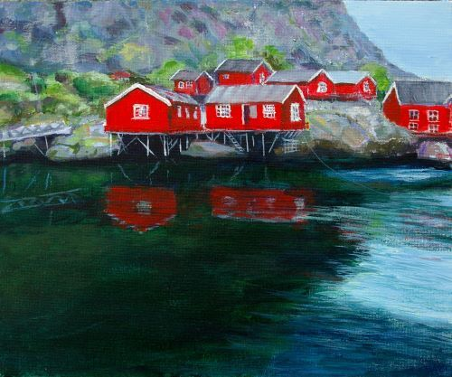 Lofoten Red Houses by Lett Harris