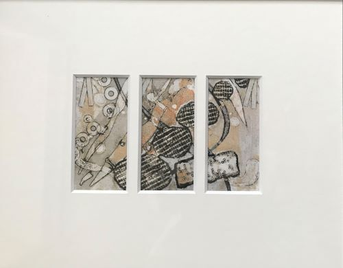 SOLD Triptych Grey and Sand by Sarah Burns