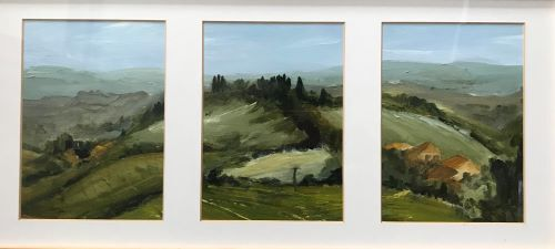 Tuscan Hillside Triptych by Sarah Burns