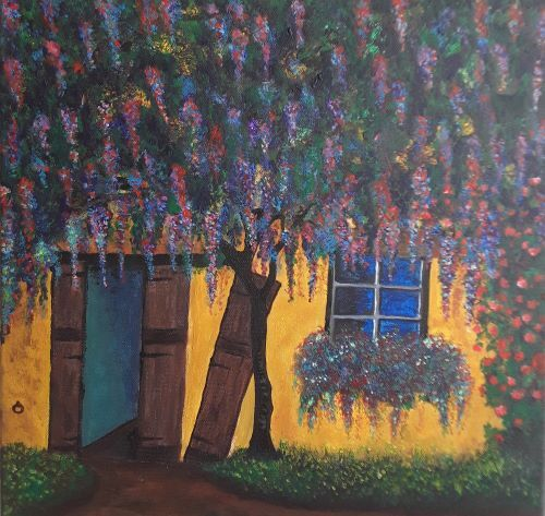 Wisteria on a yellow wall by Tony Hughes