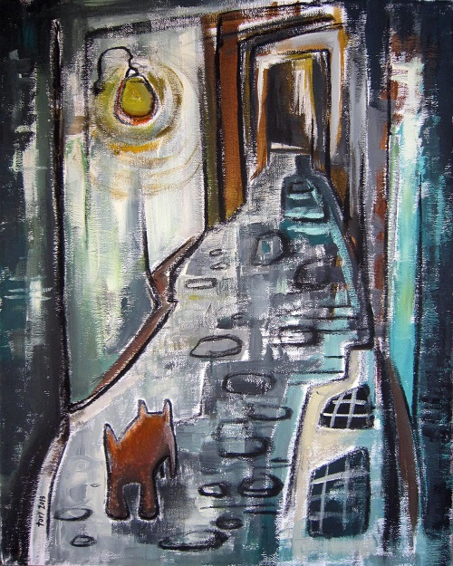 Small Dog in an Alleyway by Victoria Barker