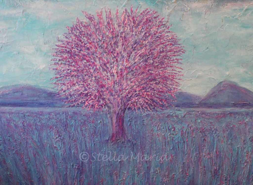 cherry blossom pink acrylic painting by stella maria art