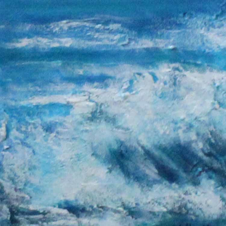 """""""crashing waves an acrylic seascape miniature 5in x 5in by stella maria art"""""""