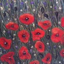 """""""fields of red painting by stella maria art pastels"""""""