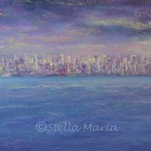 hong kong twilight acrylic painting by stella maria art