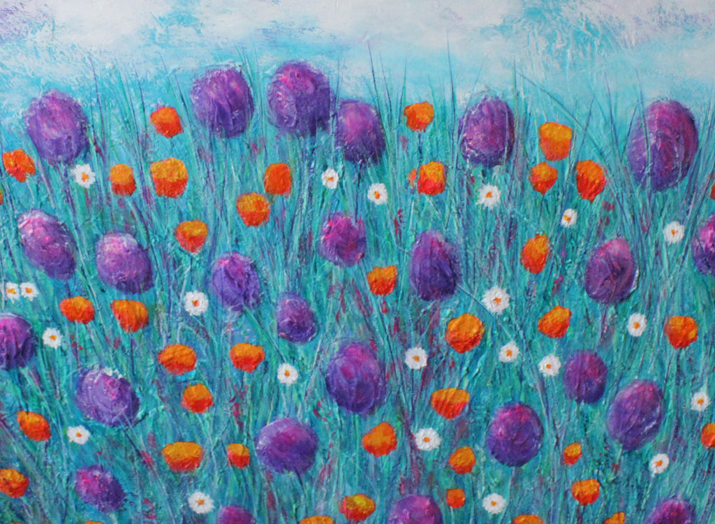 orangy meadow dreams acrylic painting on board by stella maria art solihull
