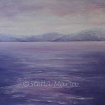 pink serenity seascape in acrylics by stella maria art solihull