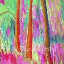 """pink woodlands a mixed media painting by stella maria art solihull"""