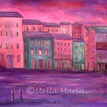 """pinky purple dreams - mixed media painting by stella maria art solihull"""