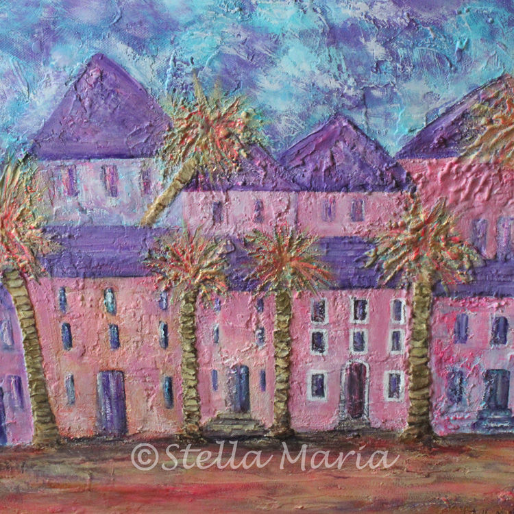"""""""pinky purple town"""" acrylic painting by stella maria art solihull"""""""