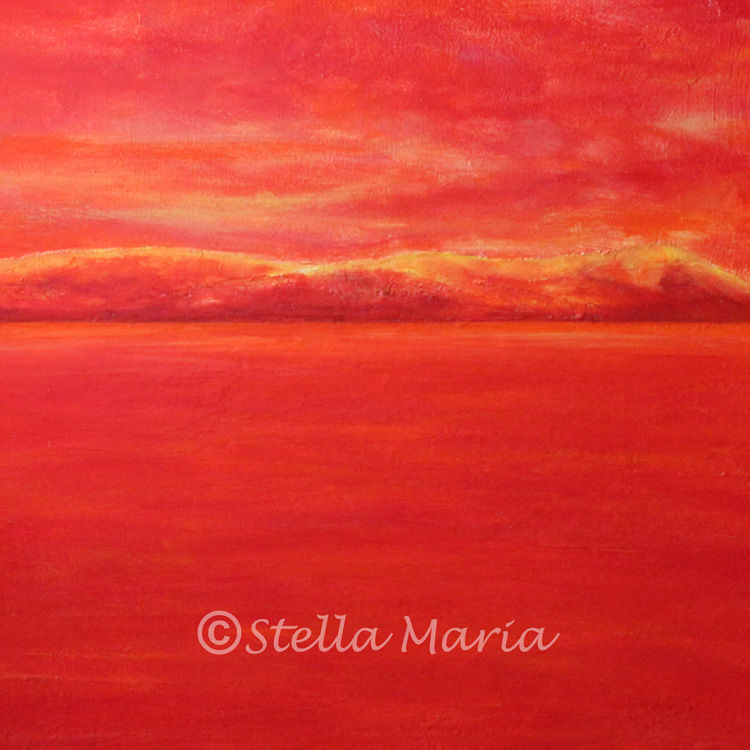 """""""red hot acrylic seascape by stella maria art solihull,stella coles acrylic painting of a seascape solihull"""