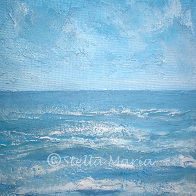 """""""rolling waves acrylic mini painting by stella maria art solihull"""""""