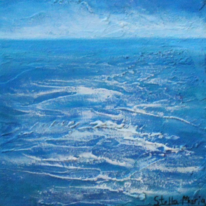 """seaside blues mini seascape in acrylics by stella maria art solihull"""