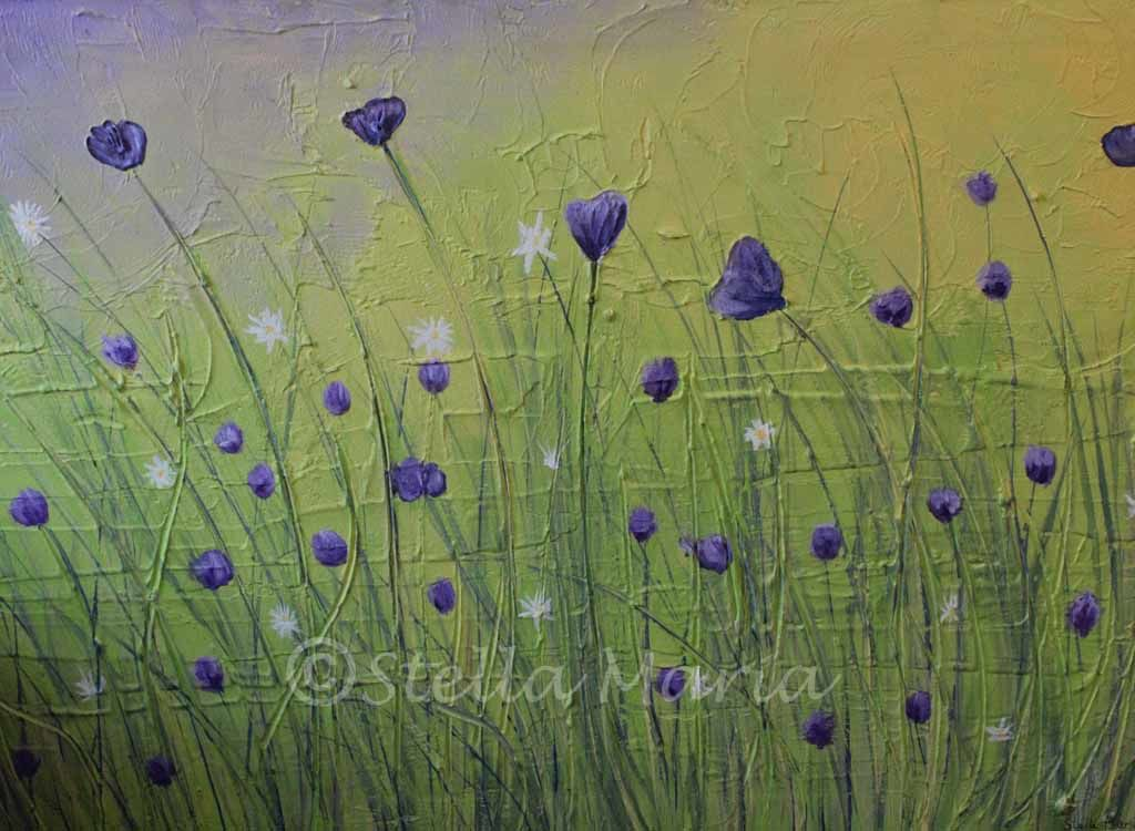 summer meadows acrylic painting by stella maria art solihull