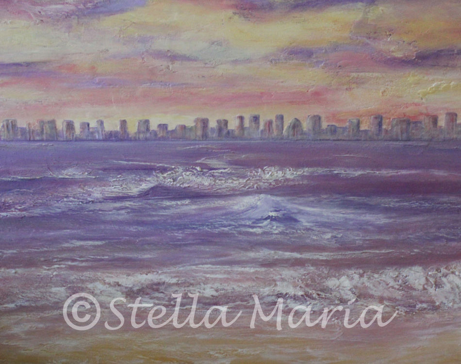 twilight paradise acrylic painting by stella maria art of solihull