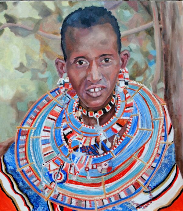 A Masaai woman portrait in oils by Stella Tooth