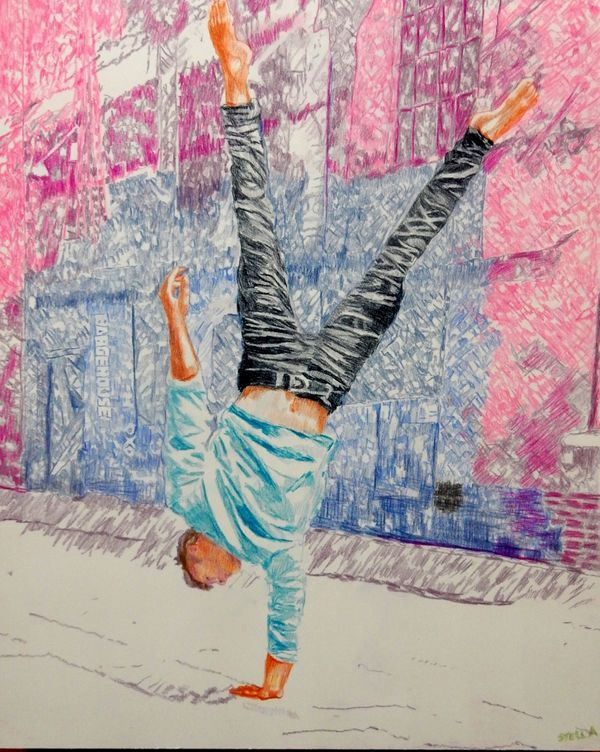Southbank acrobat Jonathan Last drawing by Stella Tooth
