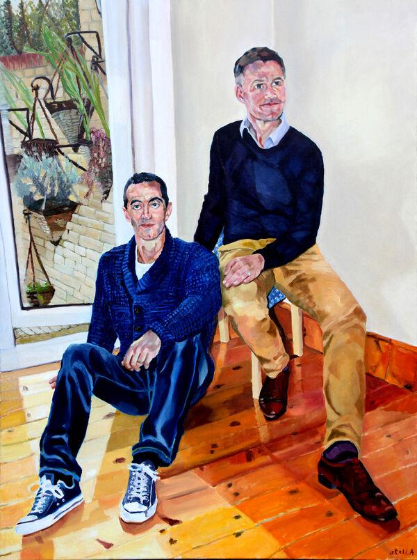 Alexis Mavrikakis & Robert Nisbet portrait in oils by Stella Tooth