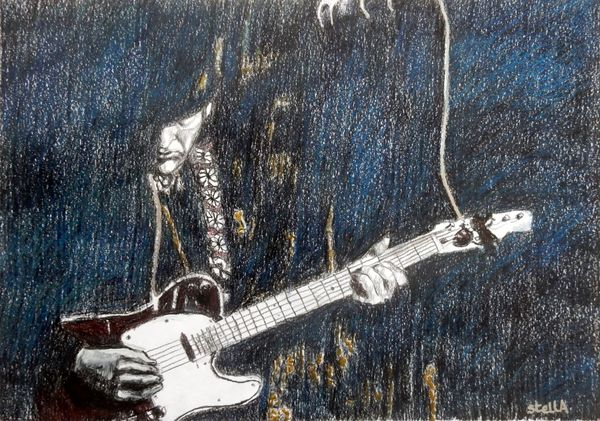 Musician Andy McNish aka Tom Petty in The Trembling Wilburys at the Half Moon Putney portrait drawing by Stella Tooth