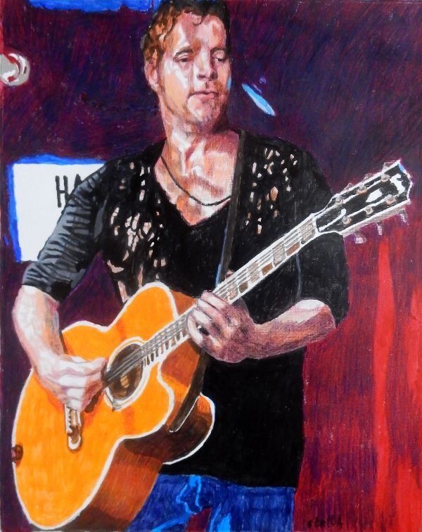 Musician Arno Carstens at the Half Moon Putney portrait drawing by Stella Tooth