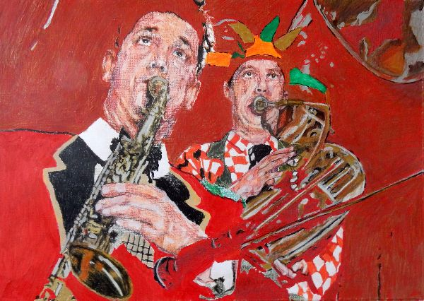 Bob Kerr's Whoopee Band - Richard White & Malcolm Sked drawing