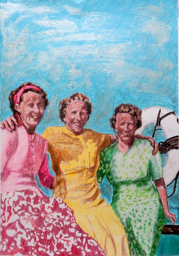 Brighton belles - bathers by Stella Tooth Bather art Portrait art representational art figurative art