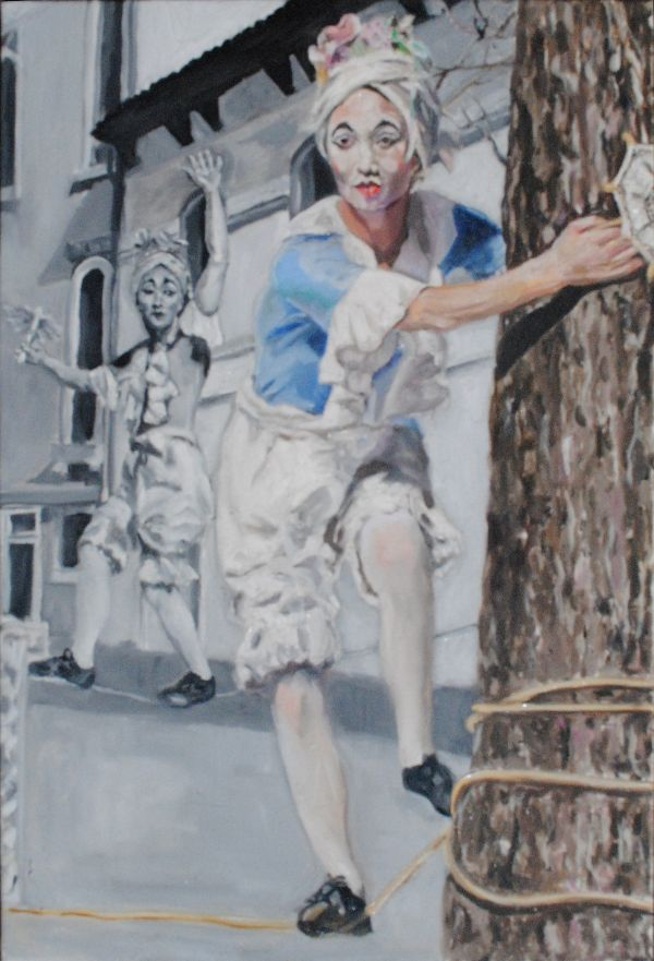 The tightrope walker oils 43.5x63.5x3.5cms