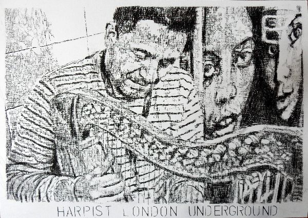 Harpist Diego Laverde Rojas busker drawing London Underground by Stella Tooth