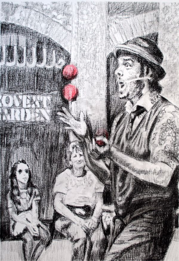 Juggler Corey Pickett drawing