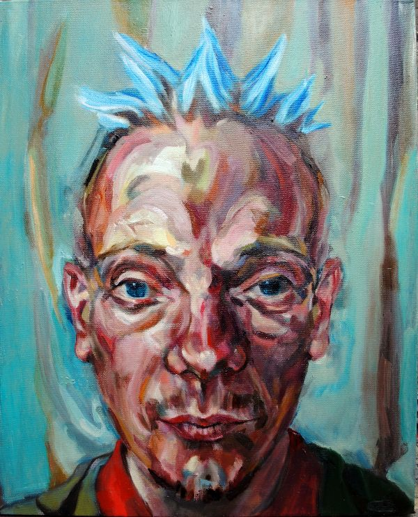 Spikey the bed of nails artist oils 49x60x5cms
