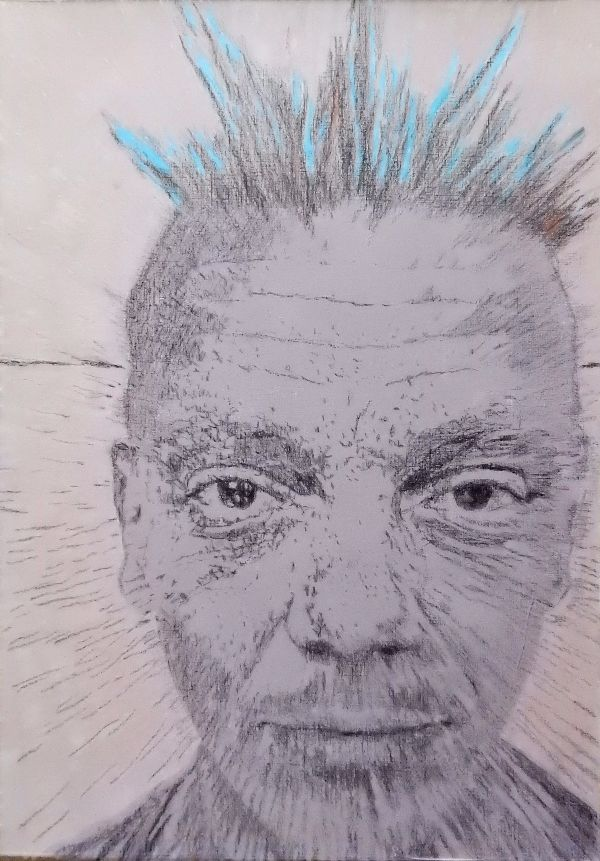 Spikey bed of nails artist - blue hair drawing