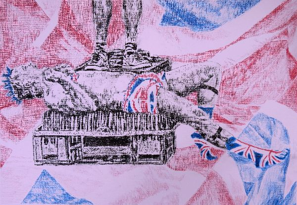 Spikey and Union Jack busker portrait drawing by Stella Tooth