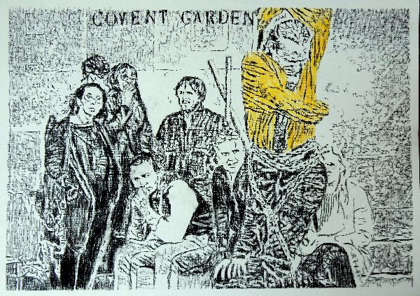 The escapologist Covent Garden busker portrait drawing by Stella Tooth
