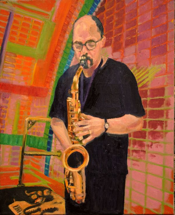The jazz player Chebeto Requeno  oils 54x44x5cms