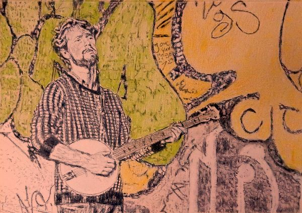 Busker banjo player Jimmy Grayburn portrait drawing by Stella Tooth