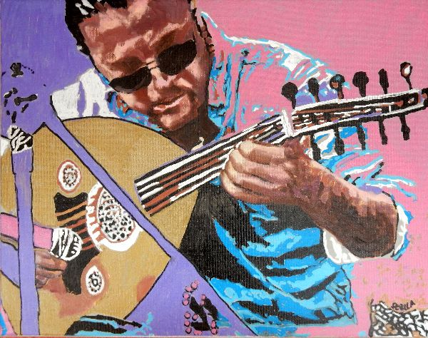Busker Zana Asia acrylics portrait painting by Stella Tooth