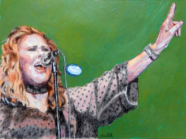 Musician Carol Decker - T'pau portrait drawing at Half Moon Putney by Stella Tooth