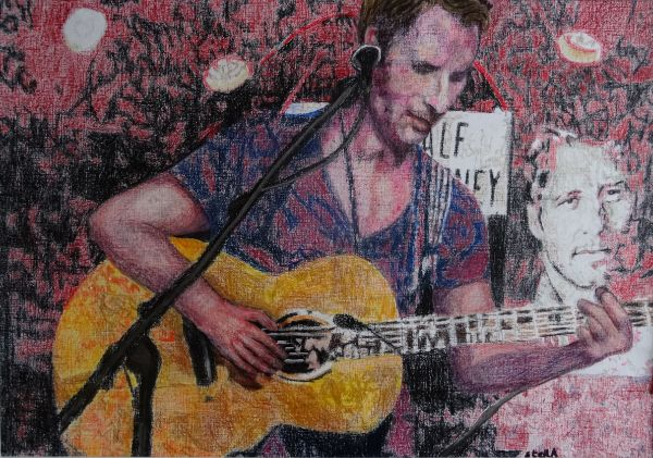 Musician Chesney Hawkes at the Half Moon Putney portrait drawing by Stella Tooth
